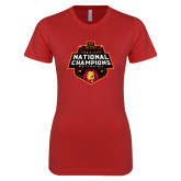 Next Level Ladies SoftStyle Junior Fitted Red Tee-2018 NCAA Mens Basketball National Champions