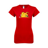 Next Level Ladies SoftStyle Junior Fitted Red Tee-Bulldog Head Peeking