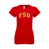 Next Level Ladies SoftStyle Junior Fitted Red Tee-Arched FSU