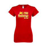 Next Level Ladies SoftStyle Junior Fitted Red Tee-Bulldogs Est. 1884 Stacked