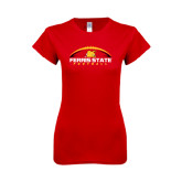Next Level Ladies SoftStyle Junior Fitted Red Tee-Ferris State Football Horizontal