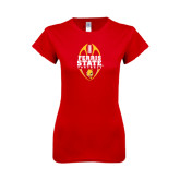 Next Level Ladies SoftStyle Junior Fitted Red Tee-Ferris State Football Tall