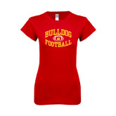 Next Level Ladies SoftStyle Junior Fitted Red Tee-Bulldog Football Arched