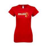 Next Level Ladies SoftStyle Junior Fitted Red Tee-Bulldog Football Flat w/ Ball