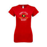 Next Level Ladies SoftStyle Junior Fitted Red Tee-Hockey Arched w/ Sticks and Puck