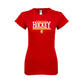 Next Level Ladies SoftStyle Junior Fitted Red Tee-Ferris State Hockey Stacked