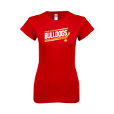 Next Level Ladies SoftStyle Junior Fitted Red Tee-Bulldogs Hockey Slanted