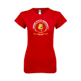 Next Level Ladies SoftStyle Junior Fitted Red Tee-Hockey Circle w/ Sticks