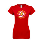 Next Level Ladies SoftStyle Junior Fitted Red Tee-Volleyball Ball w/ Stars