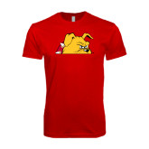 SoftStyle Red T Shirt-Bulldog Head Peeking