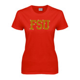 Ladies Red T Shirt-FSU Rhinestones
