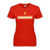 Ladies Red T Shirt-2016 WCHA Tournament Champions Hockey