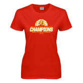 Ladies Red T Shirt-Back-to-Back-to-Back GLIAC Champions Volleyball