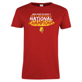 Ladies Red T Shirt-2018 NCAA Mens Basketball National Champions - Brush