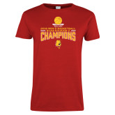 Ladies Red T Shirt-2018 NCAA Mens Basketball National Champions - Stacked