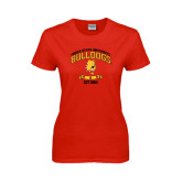 Ladies Red T Shirt-Bulldogs Est. 1884 Arched