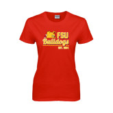 Ladies Red T Shirt-Bulldogs Est. 1884 Stacked