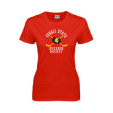 Ladies Red T Shirt-Hockey Arched w/ Sticks and Puck