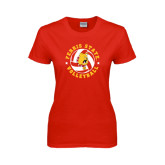 Ladies Red T Shirt-Volleyball Ball w/ Stars