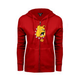 ENZA Ladies Red Fleece Full Zip Hoodie-Bulldog Head