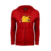 ENZA Ladies Red Fleece Full Zip Hoodie-Bulldog Head Peeking