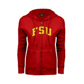 ENZA Ladies Red Fleece Full Zip Hoodie-Arched FSU