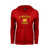 ENZA Ladies Red Fleece Full Zip Hoodie-Ice Hockey