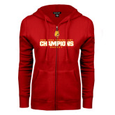 ENZA Ladies Red Fleece Full Zip Hoodie-2016 WCHA Tournament Champions Hockey