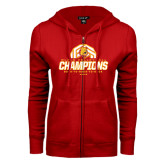 ENZA Ladies Red Fleece Full Zip Hoodie-Back-to-Back-to-Back GLIAC Champions Volleyball