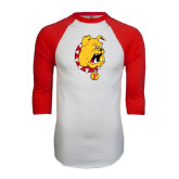 White/Red Raglan Baseball T-Shirt-Bulldog Head