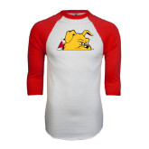 White/Red Raglan Baseball T-Shirt-Bulldog Head Peeking