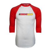 White/Red Raglan Baseball T-Shirt-#FerrisStrong