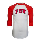 White/Red Raglan Baseball T-Shirt-Arched FSU