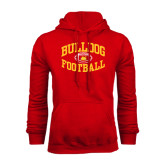 Red Fleece Hoodie-Bulldog Football Arched
