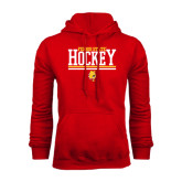 Red Fleece Hood-Ferris State Hockey Stacked