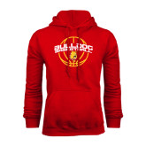 Red Fleece Hood-Basketball Arched w/ Ball