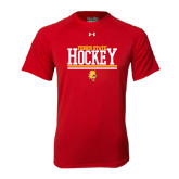 Under Armour Red Tech Tee-Ferris State Hockey Stacked