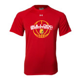 Under Armour Red Tech Tee-Basketball Arched w/ Ball