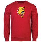 Red Fleece Crew-Bulldog Head
