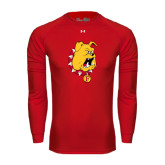 Under Armour Red Long Sleeve Tech Tee-Bulldog Head