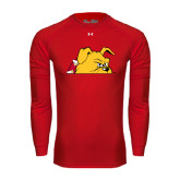 Under Armour Red Long Sleeve Tech Tee-Bulldog Head Peeking