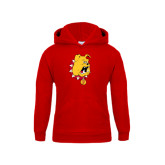 Youth Red Fleece Hood-Bulldog Head
