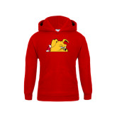 Youth Red Fleece Hood-Bulldog Head Peeking