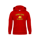 Youth Red Fleece Hoodie-Ice Hockey