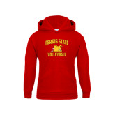 Youth Red Fleece Hood-Volleyball