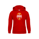Youth Red Fleece Hoodie-Ferris State Football Tall