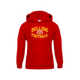 Youth Red Fleece Hood-Bulldog Football Arched