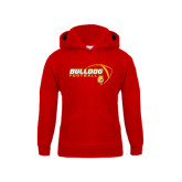 Youth Red Fleece Hood-Bulldog Football Flat w/ Ball