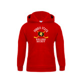 Youth Red Fleece Hoodie-Hockey Arched w/ Sticks and Puck