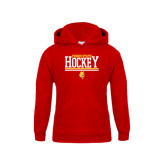 Youth Red Fleece Hoodie-Ferris State Hockey Stacked